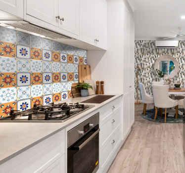 Sticker Maison Carreaux Multicolores