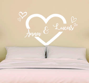 Valentine's day wall sticker with heart shape design and customisable name to celebrate and decorate the home.Available in different colours and size.