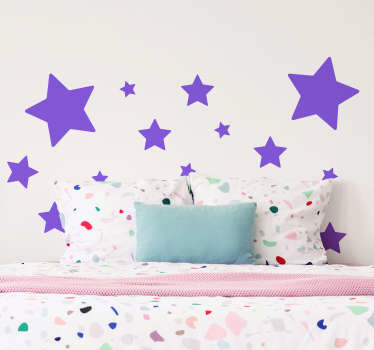 Decorative home wall sticker for the bedroom space of children with the design of  various star sizes. Easy to apply and adhesive.