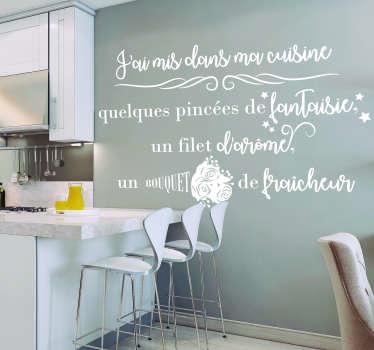 """""""J'ai mis dans ma cuisine"""" : un beau sticker texte pour votre cuisine, constitué d'une recette fantaisie et motivante au quotidien."""