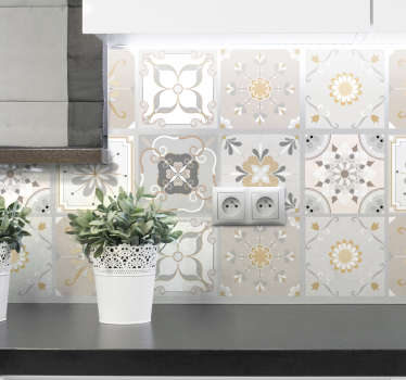 Decorative colourd pattern tile sticker to use on the kitchen wall or tile surface. It comes in different designs in a pack.