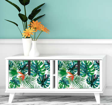 An amazing tropical plant sticker to decorate a furniture surface. Easy to apply and available in customizable sizes. highly durable.