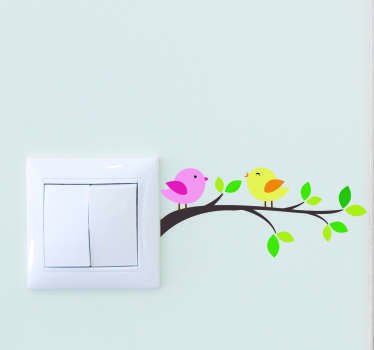 Beautiful light switch cover sticker with the design of birds on tree branch. Easy to apply and available in different sizes.