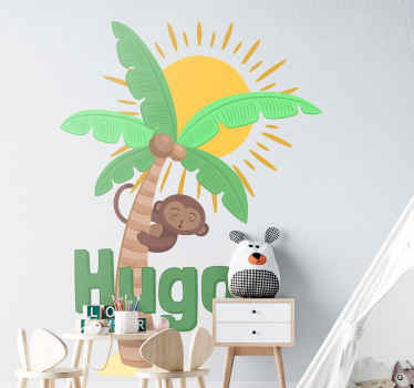 Decorative home wall decal design of a palm tree with monkey and the sun. An ideal decoration for the bedroom of kid. Easy to apply.