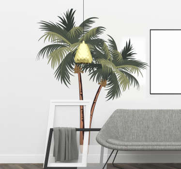 Decorative home wall art sticker design of a tropical palm tree. Easy to apply and available in different sizes. Highly adhesive.