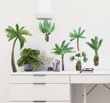 Decorative home wall sticker with the design of collective palm trees. East to apply and available in any required size.