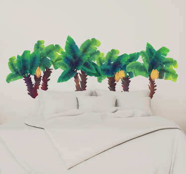 Decorative water colour palm tree wall sticker for headboard and any other space in the home. Easy to apply and available in any required size.