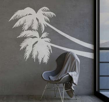 Naklejka na ścianę sylwetka Palma tropikalna