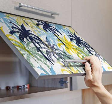 Vinilo cocina palmeras abstractas