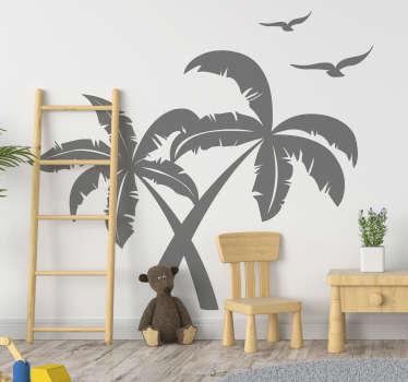 Sticker Maison Silhouettes Palmiers et Oiseaux