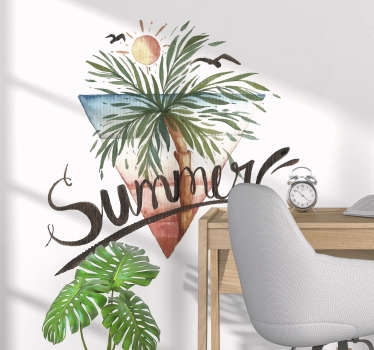 Decorative home wall decal with the design of palm tree with summer text. Available in any required size. Easy to apply and self adhesive.