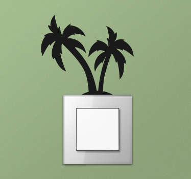 Light switch cover sticker with the design of palm tree in silhouette style. Easy to apply and available in different colours and size.