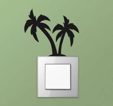 Pour donner un côté lumineux à vos interrupteurs, quoi de mieux qu'un sticker arbre de silhouettes de palmiers ? +50 Couleurs Disponibles.