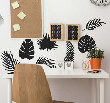 Set of palm tree wall sticker with the design of different palm leaves. Available in different colours and sizes. Easy to apply.