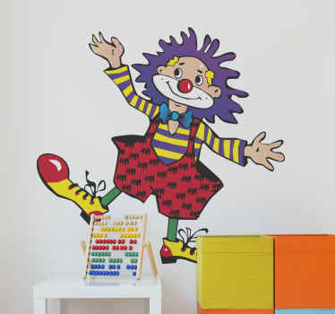 Kids Wall Stickers - Fun, colourful and playful illustration of a clown . Ideal for decorating bedrooms and areas for children.
