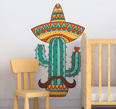 Vinilo para casa con el dibujo de un cactus con un sombrero mejicano y un bigote. Precios imbatibles y calidad superior.
