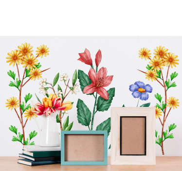 A drawing botanical garden wall sticker with a lot of colorful flowers.  Beautiful living room and bedroom decoration. Available in any required size.