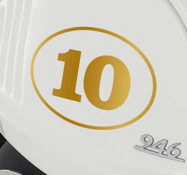 Gyllen nummer kjøretøy klistremerke