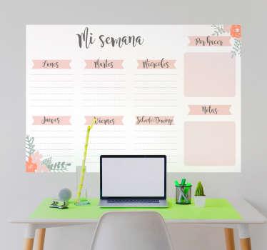 Vinilo de pared en forma de pizarra Vileda con un bonito diseño de un calendario semanal con los días de la semana. Descuentos para nuevos usuarios.