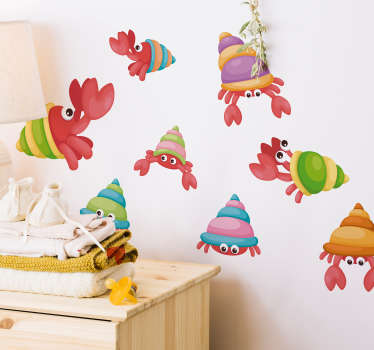Vinilo pared set cangrejos divertidos