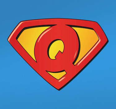Super mies super q seinä tarroja lapselle