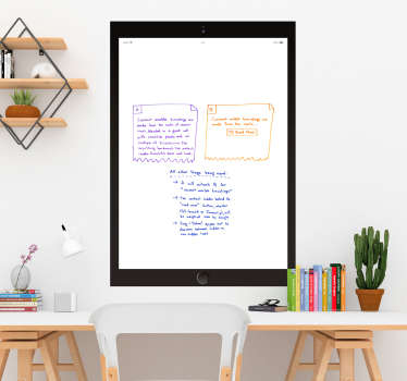 Decorate your office with some useful write on decor, thanks to this fantastic iPad themed Whiteboard sticker! Choose your size.