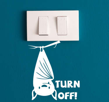 Bat Turn Off Light Switch Sticker