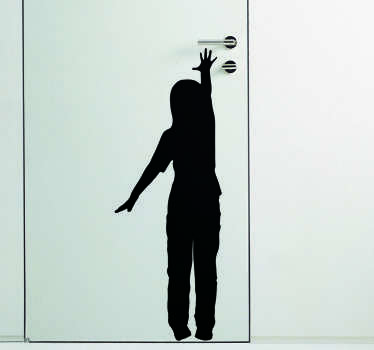 Vinilo silueta Child Reaching for Door Handle