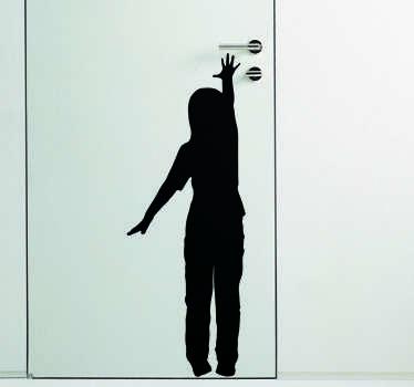 Child Reaching Door Sticker