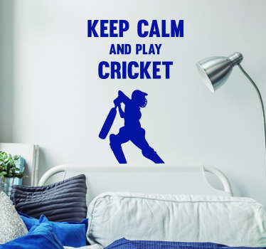 Pay tribute to the magic of cricket with this fantastic, cricket themed sports sticker! Just keep calm and play cricket! Available in 50 colours.