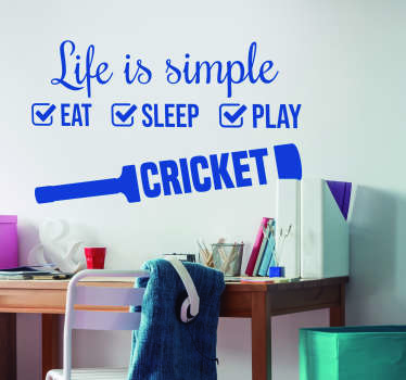 Cricket Simple Life Home Wall Sticker