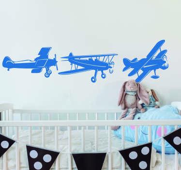 Muurstickers kinderkamer vliegtuigjes blauw