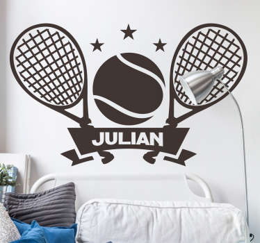 Muurstickers tienerkamer Tennis raket