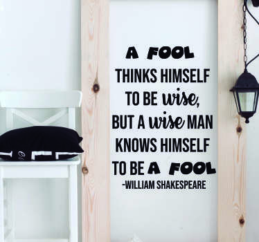 William Shakespeare Fool Living Room Wall Decor