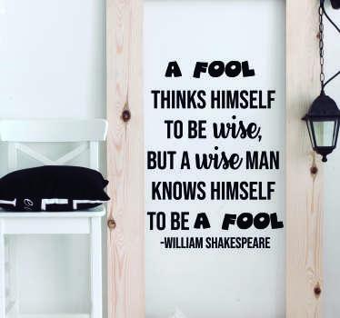 William Shakespeare Fool Living Room Wall Decor