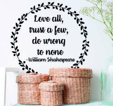 William Shakespeare Trust Quote Sticker