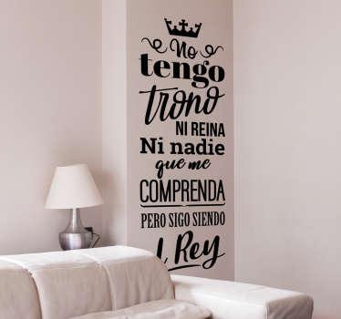 Vinilo pared El Rey canción
