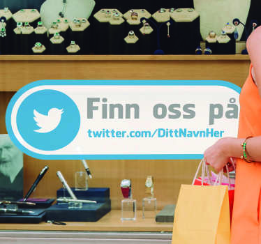 Finn oss på twitter business klistremerke