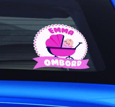 Personlig baby jente ombord kjøretøy klistremerke