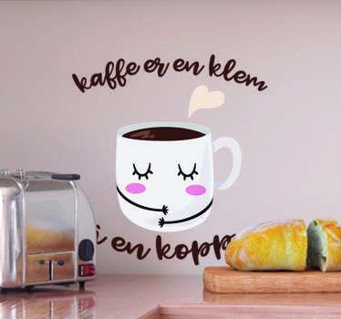 Kaffe er en klatre i en kopi tekst klistremerke