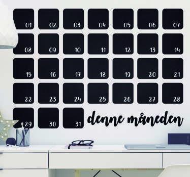 Kantoor stickers krijtbord kalender