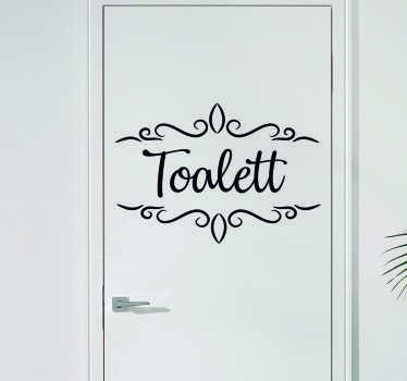 Toalett tekst på dør vinyl tegn