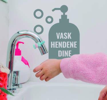 Vask hendene tekst klistremerke
