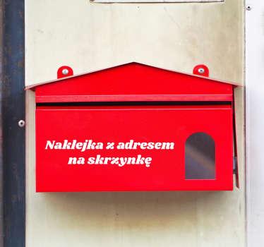 Naklejka na skrzynkę pocztową z adresem w formie napisu zawierającego adres lub tekst mówiący o zakazie wrzucania ulotek do skrzynki na listy.
