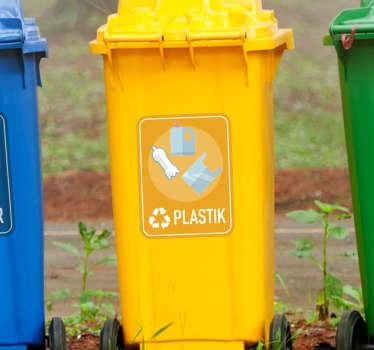 Naklejka z rysunkiem Segregacja plastiku