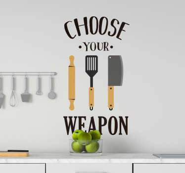 Kitchen wall sticker with the design of cooking wares to bring some life into the space. Available in different colours and sizes.