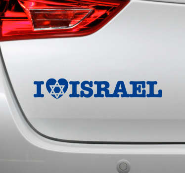 An original text car sticker with an inscription word ''I love Israel''. Available in different colours and sizes. Easy to apply.