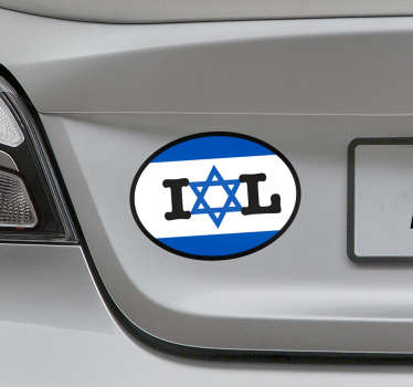 Israel flag car sticker with the design of the symbolic star of David . Available in nay required size. Easy to apply and self adhesive.