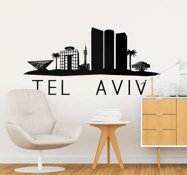 Tel Aviv skyline wall sticker for living room decoration. Available in different colour and size options. Highly durable and easy to apply.