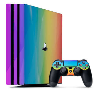 Rainbow colour decal for ps4 game console decoration.  Easy to apply and durable because it is made from a quality vinyl and self adhesive.